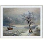 『雪と船の見える風景』 P40号(75x100cm)