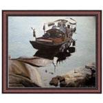 『岸辺のジャンク船』 F12号(50x60cm)
