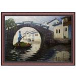 『川沿いの街と櫂を漕ぐ物売り』 P15号(50x70cm)