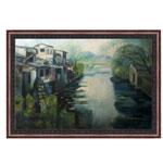 『川と家屋』 M30号(90x60cm)