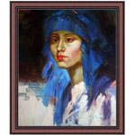 『青い民族帽の女』 F12号(50x60cm)