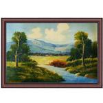 『山と川のある風景』 M30号(90x60cm)