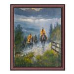 『山を行く馬乗りたち』 40x50cm