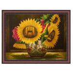 『装飾のある壷とヒマワリ』 30x40cm