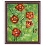『緑中の紅花』 F12号(50x60cm)