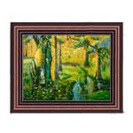 『草木のある小川の風景』 30x40cm