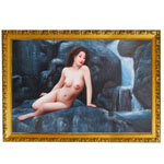 『裸婦と滝』 M30号(60x90cm)