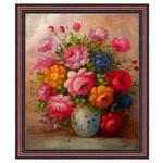『花瓶の色彩豊かな花々』 F12号(50x60cm)
