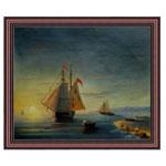 『夕陽と帆船』 F12号(50x60cm)
