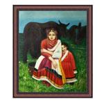 『民族衣装の母娘と牛』 F12号(50x60cm)