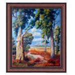 『草原の木々と青い空』 F12号(50x60cm)