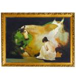 『美女と馬のある情景』 P25号(60x80cm)