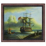 『帆船とジャンク船』 F12号(50x60cm)