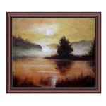『夕日の見える湖畔』 F12号(50x60cm)